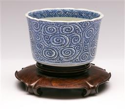Sale 9138 - Lot 136 - Blue and White Ming Style Bowl on Timber Stand (Dia:11cm H:10cm)