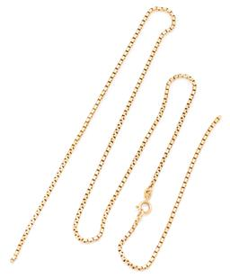 Sale 9145 - Lot 313 - AN 18CT GOLD BOX CHAIN; with bolt ring clasp, length 59cm, wt. 16.07g, broken.