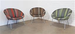 Sale 9151 - Lot 1131 - Set of 3 matched Walter Knoll tub chairs with Paul Smith upholstery (h:70 w:75cm)