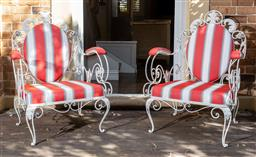 Sale 9160H - Lot 12 - A pair of recently re-upholstered French outdoor chairs with rose and acanthus themed decorations and weather proof striped fabric a...