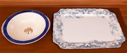 Sale 9191W - Lot 726 - A Staffordshire ceramic serving tray (L; 38cm) together with A Grindley bowl (Dia; 24cm)