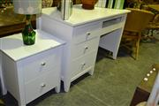 Sale 8013 - Lot 1073 - White Three Drawer Timber Students Desk with Matching Two Drawer Bedside