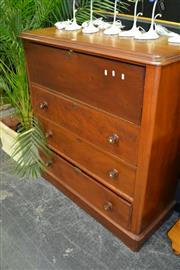 Sale 8050B - Lot 8 - Victorian mahogany chest of drawers with converted fall front and three drawers below (Key In Office)