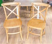 Sale 8298 - Lot 64 - A Set of Six cross back cafe chairs (height of back 90cm)