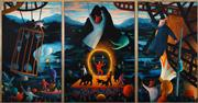 Sale 8467 - Lot 558 - James Davis (1940 - ) - Twilight in Gods Country (Bohemian Series) (triptych) 188.5 x 230cm (overall)