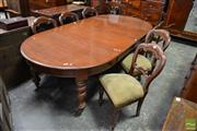 Sale 8500 - Lot 1077 - Timber Dining Setting incl. Cedar Extension Table & Set of Eight Balloon Back Chairs, the table with two leaves, the chairs with gre...
