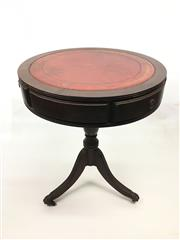Sale 8545N - Lot 256 - Small Drum Table with Leather Insert Top on Tripod Base above Paw Feet with Castors (H: 61cm)