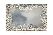 Sale 8596 - Lot 328 - A NATHANIAL MILLS HALLMARKED SILVER BOX; foliate embossed sides and edges, dimensions 75 x 50 x 30mm, hallmarked Birmingham, 1825, w...