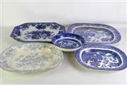 Sale 8923B - Lot 87 - Four blue and white platters, largest length 45cm together with a Doulton Burslem patterned bowl