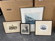 Sale 9061 - Lot 2076 - Artist Unknown; Chappell Chora Station, etching & aquatint ed. 2/12; frame: 60 x 47 cm; signed lower right; together with 3 other...