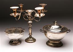 Sale 9098 - Lot 133 - An Edwardian EPNS candelabrum together with other plated wares included soup tureen,