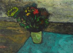 Sale 9109 - Lot 514 - Ray Crooke (1922 - 2015) Floral Still Life oil on board 21 x 29.5 cm (frame: 40 x 47 x 3 cm) signed lower left