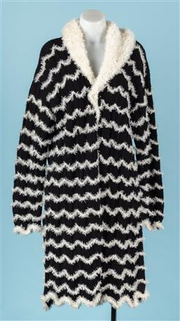 Sale 9092F - Lot 38 - AN OVERSIZED CARDIGAN; in black and white soft wool, Size S