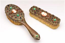 Sale 9119 - Lot 19 - Austrian pair of bejewelled and filigree decorated brushes featuring centralised shell cameos