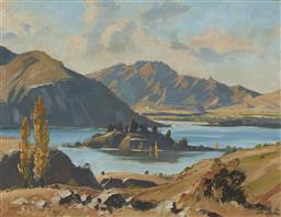 Sale 9170 - Lot 598 - LESLIE ALFRED CAMPBELL (1925 - ) Island in Lake Wanaka, Central Otago, NZ oil on board 34 x 44 cm (frame: 52 x 62 x 3 cm) signed low...