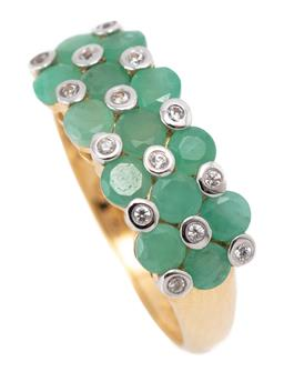 Sale 9186 - Lot 316 - A SILVER GILT EMERALD AND STONE SET RING; set across the top with round cut emeralds and collet set white round cut topaz, width 7.7...