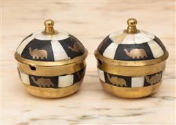 Sale 9248H - Lot 165 - A pair of mother of pearl inlaid brass lidded pots depicting elephants.