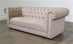 Sale 9255 - Lot 1104 - Fabric 3 seater Chesterfield lounge (h:73 x w:210 x d:90cm)