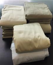 Sale 8310A - Lot 307 - A quantity of bed linen in mainly pale olive green and white tones