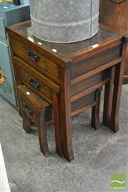 Sale 8338 - Lot 1604 - Timber Nest of 3 Tables