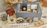 Sale 8375A - Lot 92 - A box of interesting dressing table items including hat pins, badges, coin case etc