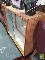 Sale 8424 - Lot 1057 - Raised Display Cabinet w Sliding Glass Doors