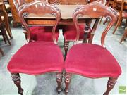 Sale 8444 - Lot 1081 - Set of Four Victorian Mahogany Dining Chairs, with shaped balloon backs, red velvet seats & turned legs