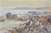 Sale 8565 - Lot 597 - Albert J. Hansen (1866 - 1914) - Rocks Beach Cove, 1902 23 x 36cm