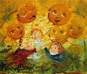 Sale 8606 - Lot 544 - David Boyd (1924 - 2011) - Children with Sunflowers 16 x 19cm