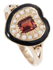 Sale 8965 - Lot 362 - A 9CT GOLD GEORGIAN STYLE GEMSET RING; heart shape top 13.7 x 13.3mm centring an emerald cut garnet to surround of seed pearls and b...