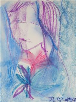 Sale 9141 - Lot 551 - Charles Blackman (1928 - 2018) The Posy pastel 31 x 23.5 cm (frame: 56 x 46 x 3 cm) signed lower right