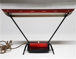 Sale 9171 - Lot 1068 - Plant Flurostat swing arm table lamp with cherry red anodised finish (h:42 x w:58cm)