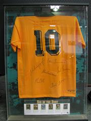 Sale 8125 - Lot 47 - Six of the Best - a large framed jersey numbered 11/100, signed by six rugby greats: Lynagh, Larkham, Mark Ella, Maclean, Summons, &...