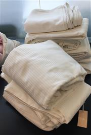 Sale 8310A - Lot 308 - A quantity of cream striped textured quality bed linen (2 bags)