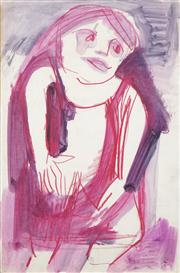 Sale 8466A - Lot 5002 - Anne Hall (1946 - ) (2 works) - Portrait Studies in Purple/Orange 56 x 38cm, each (sheet size)