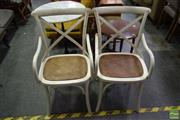 Sale 8500 - Lot 1290 - Pair of Bentwood Chairs with Cross Back & Wicker Seat