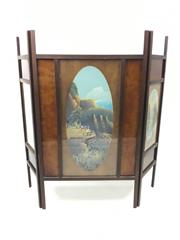 Sale 8545N - Lot 258 - Early C20th Timber Firescreen with Glass Inserts decorated with Handpainted Blue Mountains Scenes (H: 87.5cm)