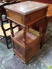 Sale 8634 - Lot 1010 - Early 20th Century French Walnut Bedside Cabinet, with brown marble top (damaged), the drawer & door with pressed decoration, an ope...