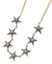 Sale 9029 - Lot 378 - A SILVER GILT DIAMOND STAR NECKLACE; composed of 7 stars each set with 6 rose cut diamonds in oxidized silver on a belcher link chai...