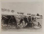 Sale 9092P - Lot 7 - A row of Howitzers of the 105th Battery behind a cut bank rear Bray