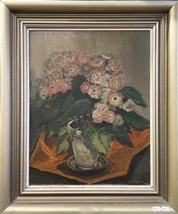 Sale 9094 - Lot 2002 - Artist Unknown Floral Still Life, 1974 oil on board 63 x 53cm (frame) signed and dated lower right