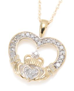 Sale 9164J - Lot 357 - A 10CT GOLD DIAMOND CLADDAGH PENDANT NECKLACE, clasped hands holding heart set with 14 single cut diamonds, size 17mm x 15mm, on fin...