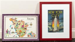 Sale 9165H - Lot 69 - A Framed print of the map of Toscana together with a poster print of New York city. Larger frame size 56x46cm