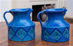 Sale 9190H - Lot 216 - A pair of blue Bitossi jugs, Height 16cm