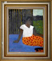 Sale 8098A - Lot 4 - Ray Crooke- Resting by the Hut Window, oil on board, 50x40cm, signed lower left.