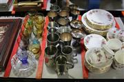 Sale 8116 - Lot 87 - Pewter Tankards with Other Silver Plated Wares