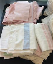Sale 8310A - Lot 309 - A quantity of quality pastel coloured bed linen, pink, green and blue