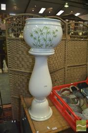 Sale 8347 - Lot 1017 - Pair of Pots on Pot Stands with Hand Painted Bamboo - Made in Italy
