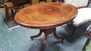 Sale 8402 - Lot 1010 - Good Victorian Burr Walnut Loo Table, with walnut & rosewood banding, on a turned birdcage base