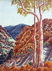 Sale 8544A - Lot 5024 - Oscar Namatjira (1922 - 1991) - Ghost Gums and Gorge 39.5 x 29cm